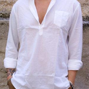 Camicia coreana serafino bianca