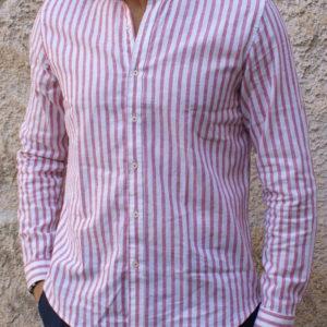 Camicia lino riga bianco-rosso