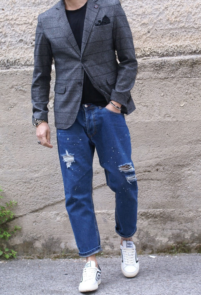 jeans strappo giacca