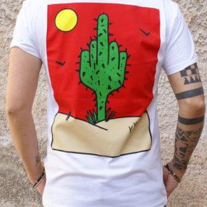 Tshirt bianca stampa cactus