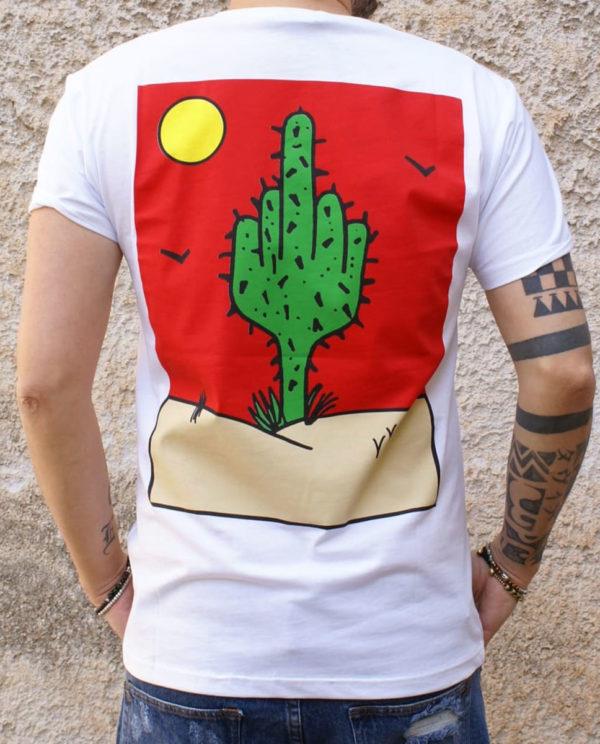 tshirt bianca cactus retro