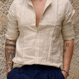 Camicia lino beige