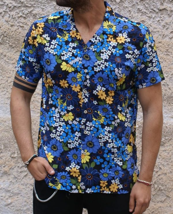 Camicia fiori blu azzurro