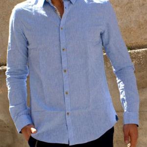 Camicia lino cotone azzurro
