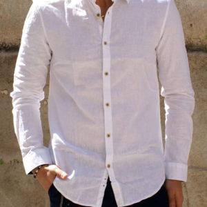 Camicia lino cotone bianca