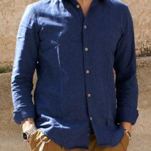 Camicia lino cotone blu