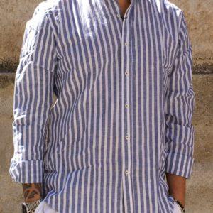 Camicia coreana lino bianca celeste