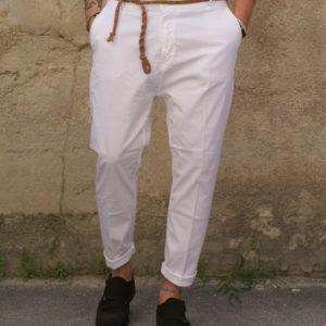 Pantalone bianco Capri con corda