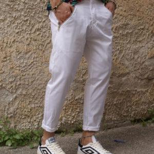 Pantalone bianco tasche e zip