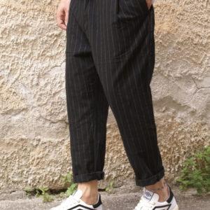 Pantalone gessato nero