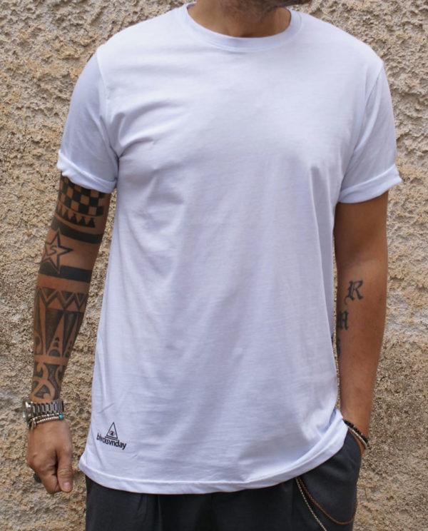 T shirt bianca con stampa teschi fronte