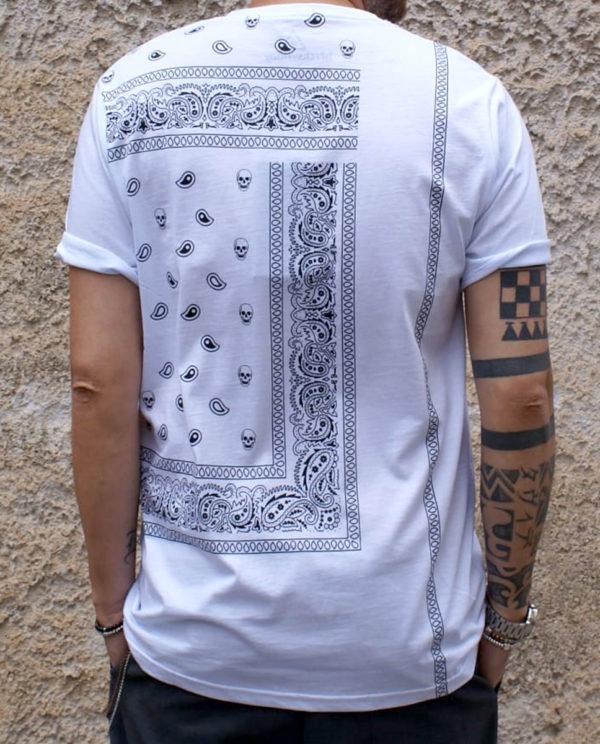 T shirt bianca con stampa teschi retro