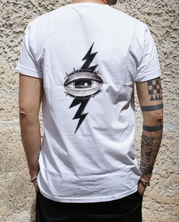 Tshirt bianca Rebirth occhio stampa retro