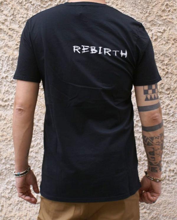 Tshirt nera Rebirth love hate scritta retro
