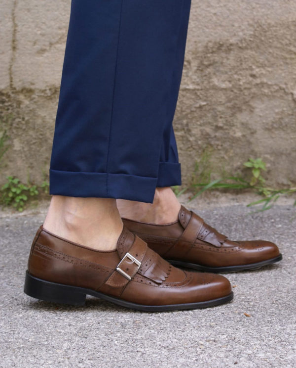scarpe pelle marrone fibbia