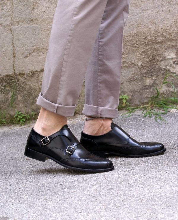 scarpe pelle nere fibbia