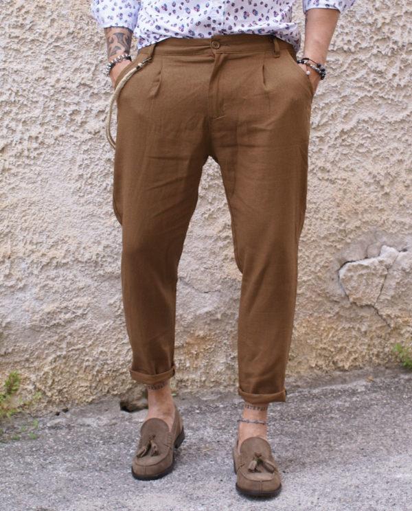 Pantalone lino cammello