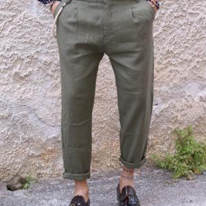 Pantalone lino verde